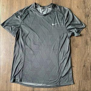 Nike Men's Dri-Fit Running Grey Shirt M